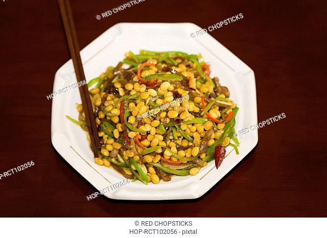 High angle view of fried soybean in a plate, Hohhot, Inner Mongolia, China
