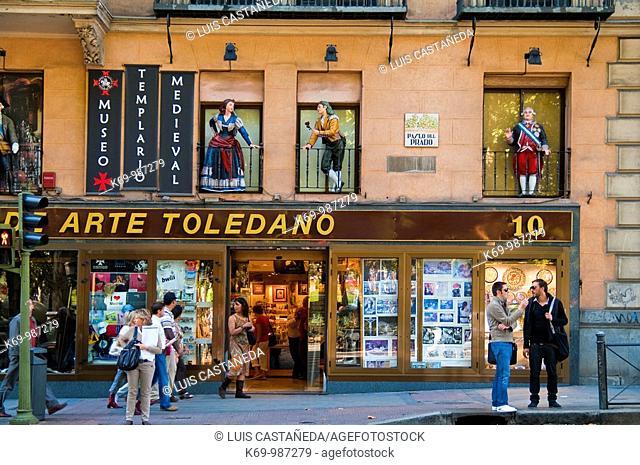 Street scene in Paseo del Prado, Madrid, Spain