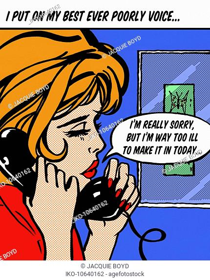 Close up of woman on telephone calling work with speech bubble pretending to be sick