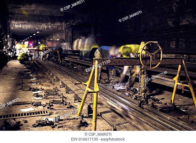 old dark subway tunnel rails exchange