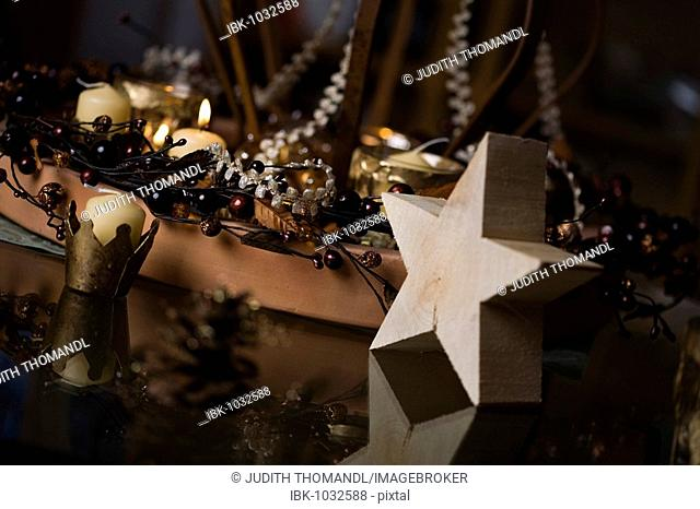 Festive decoration with a wooden star