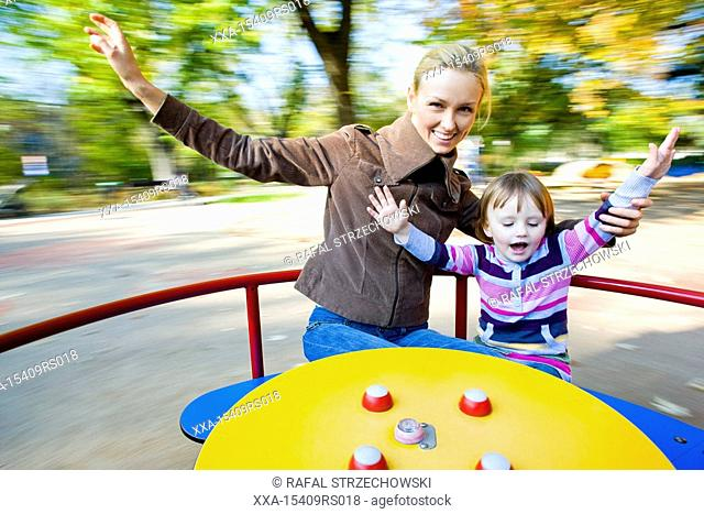 mother and child in playground
