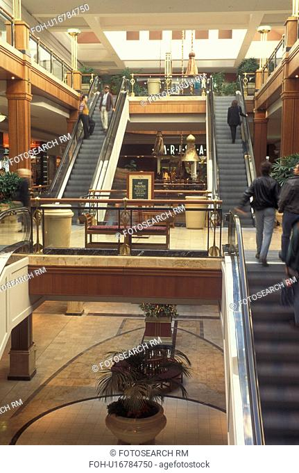 Atlanta, GA, Georgia, Buckhead, escalators, interior of Phipps Plaza Shopping Mall