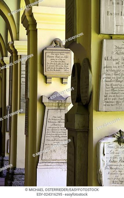 Historic cemetery in Salzburg, Austria, Europe.