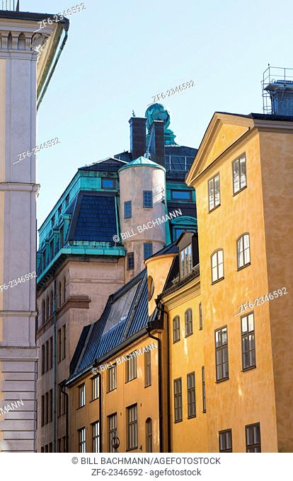 Stockholm Sweden beautiful old colorful buildings in Old Town of Gamla Stan
