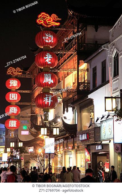 China, Jiangsu, Suzhou, street scene at night, lanterns,