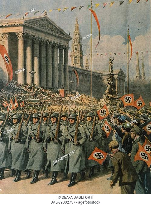 Nazi forces marching in the streets of Vienna following Hitler's coming to power. Illustrator Achille Beltrame (1871-1945), from La Domenica del Corriere
