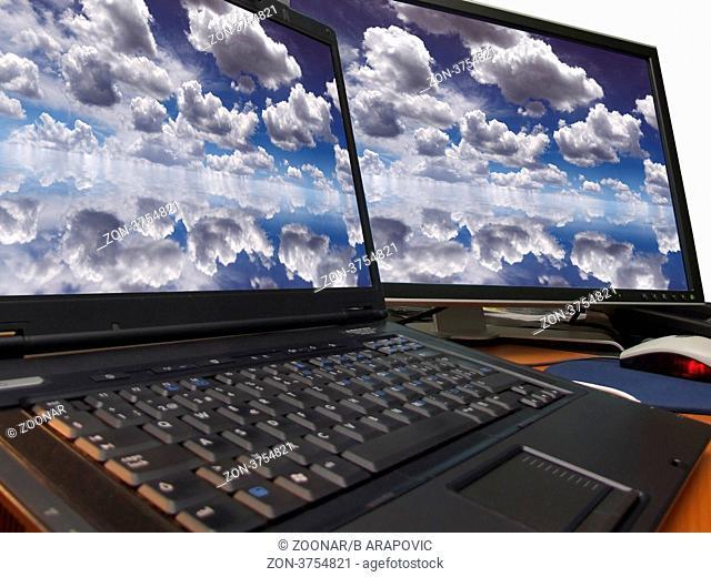 dramatic blue sky on dual display