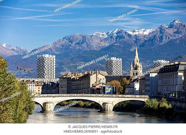 France, Isere, Grenoble, view of Grenoble-Bastille cable car and its Bubbles, the oldest city cable car in the world, view of the 13th century Saint Andre...