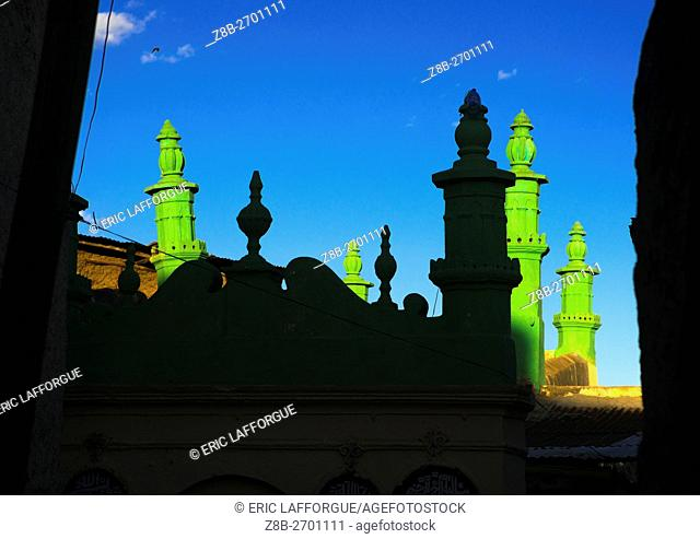 Ethiopia, Harari Region, Harar, minarets of a mosque in the old town