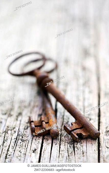 Two antique rusty keys