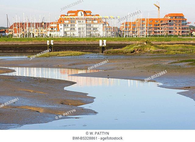 tideway in de IJzermonding nature reserve, hotels in background, Belgium, Nieuwpoort