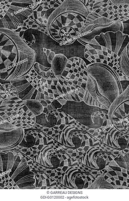 Checkered nautical pencil drawing