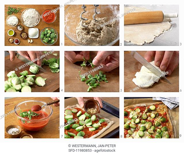 Wholemeal pizza with Brussels sprouts and pine nuts being made