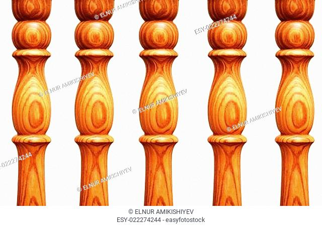 Wooden pilasters isolated on the white background