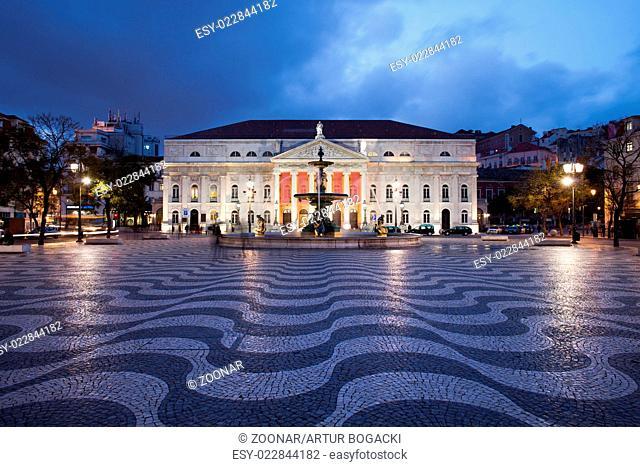 Rossio Square at Night in Lisbon