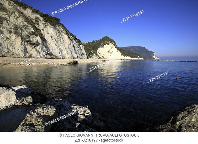 View from Numana beach, Riviera del Conero, Adriatic Sea, Numana, Ancona, Marche, Italy