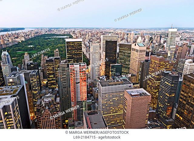 View to the North and Central park, Manhattan, New York, USA