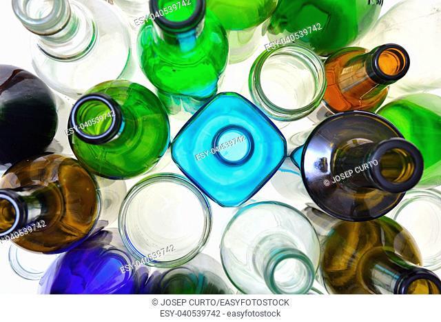 closeup of recycling glass
