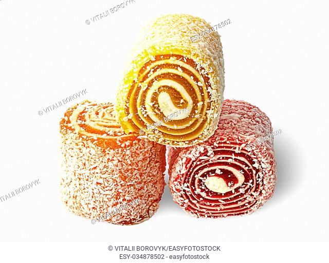 Three pieces of Turkish Delight on each other isolated on white background