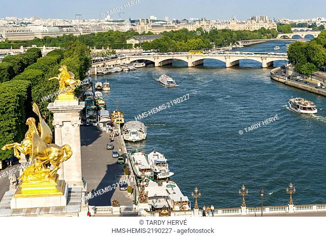 France, Paris, The Seine at the height of the Alexandre III bridge, Classified area worldwide patrimoine of humanity (aerial view)