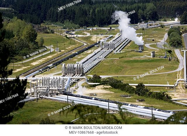 Wairakei Geothermal Power Station near Taupo. North Island New Zealand. Operated by Contact Energy this was the first geothermal plant to use very hot water as...