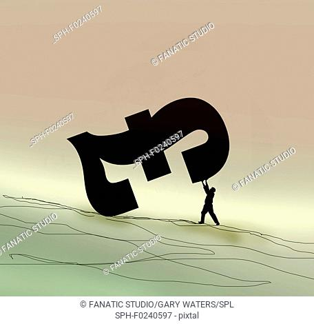 Conceptual illustration of a small man holding up a large pound symbol depicting currency support