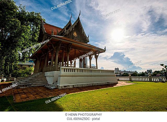 Pavilion next to Chao Phraya river, Bangkok, Thailand