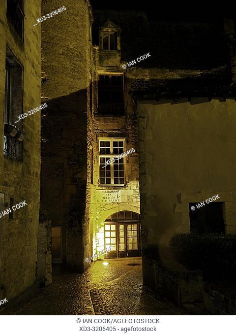 medieval streets at night, Sarlat-la-Caneda, Dordogne Department, Nouvelle-Aquitaine, France