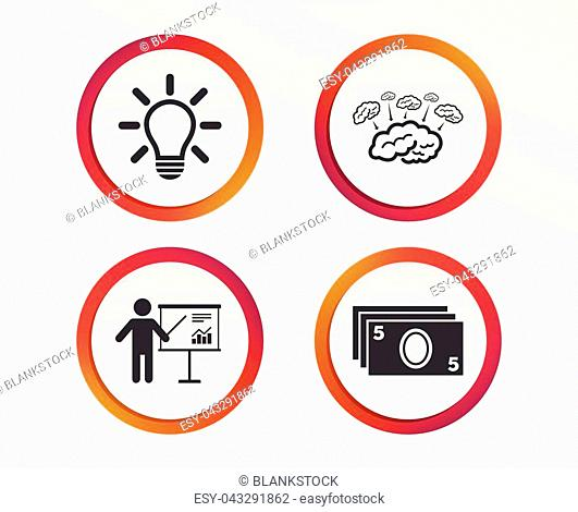 Presentation billboard, brainstorm icons. Cash money and lamp idea signs. Man standing with pointer. Scheme and Diagram symbol