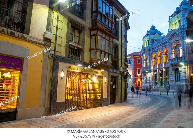 Street and Casino, night view. Llanes, Asturias, Spain
