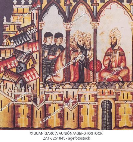 Badajoz, Spain - Dic 19th, 2018: Miniature depicting muslim court, belonged to Book Cantigas de Santa Maria. Original ay El Escorial Libray