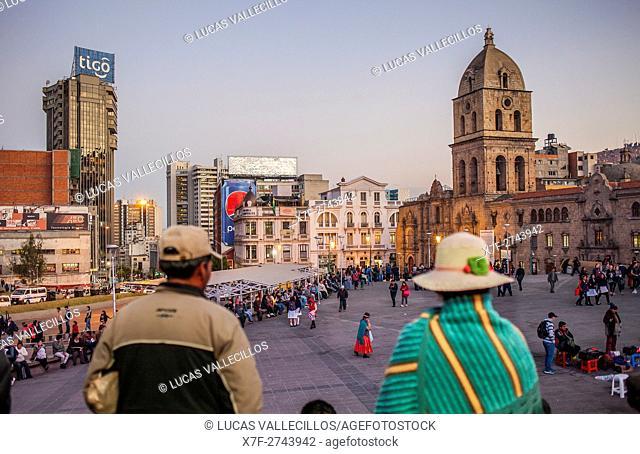Plaza de San Francisco, in background San Francisco Church, La Paz, Bolivia