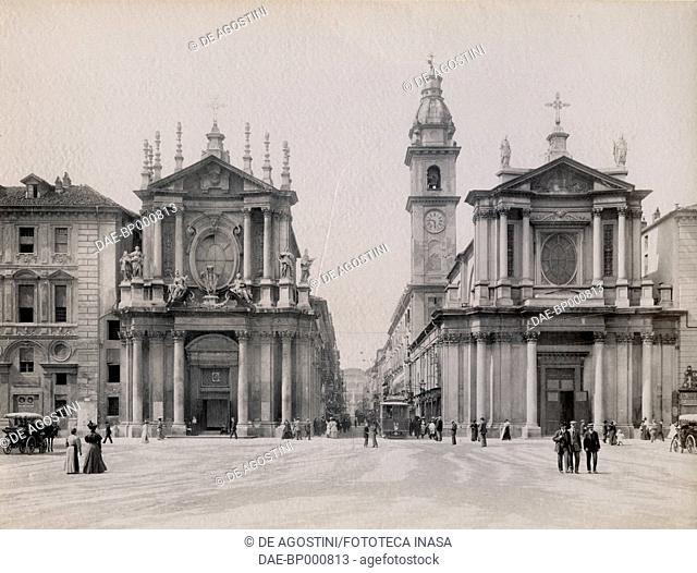 The twin Churches of St Christina and St Carlo, Via Roma, Turin, Piedmont, Italy, photograph from Istituto Italiano d'Arti Grafiche, Bergamo, 1909-1911