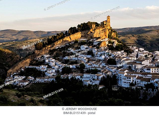 Aerial view of village in remote landscape, Montefrio, Andalusia, Spain