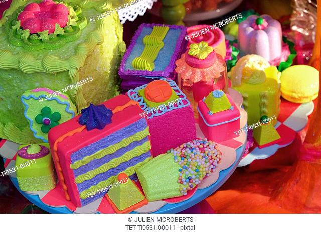 Brightly colored cakes