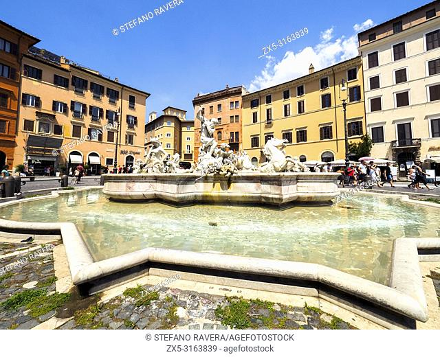 Fontana del Nettuno (Fountain of Neptune) in piazza Navona - Rome, Italy