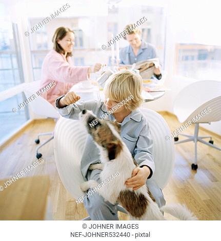 Boy playing with dog, parents sitting behind them having breakfast, Hammarby sjostad, Sweden