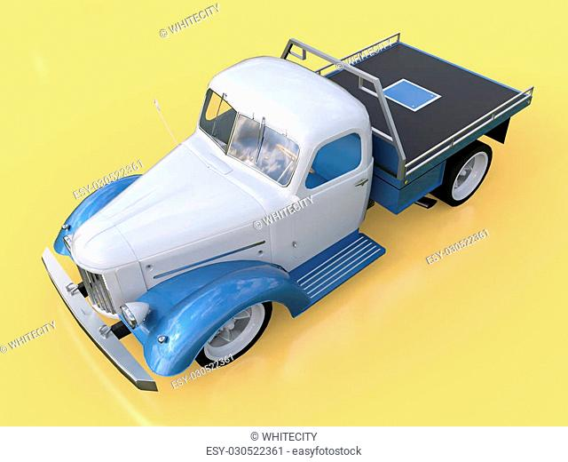 Old restored pickup. Pick-up in the style of hot rod. 3d illustration. White and blue car on a yellow background