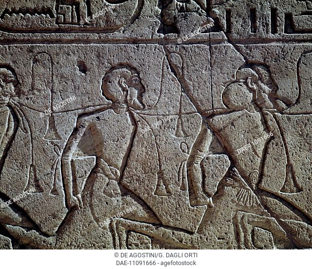 Assyrians prisoners of Ramses II, relief, Main Temple of Abu Simbel (Unesco World Heritage List, 1979), dating back to the reign of Ramesses II