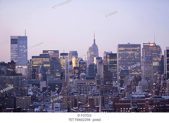 USA, View of New York City covered with snow