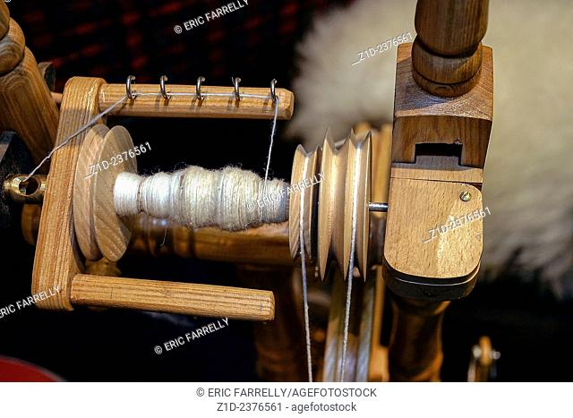 spinning machine, close up at craft show. UK