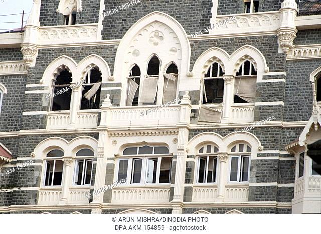 Window broken by terrorists attack on old Taj hotel in year 2008 ; Bombay Mumbai ; Maharashtra ; India
