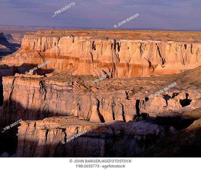 USA, Arizona, Coconino County, Moenkopi Plateau, Evening light defines eroded sandstone formations