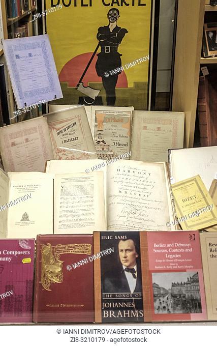England, London- interior of antiquarian bookshops selling music titles