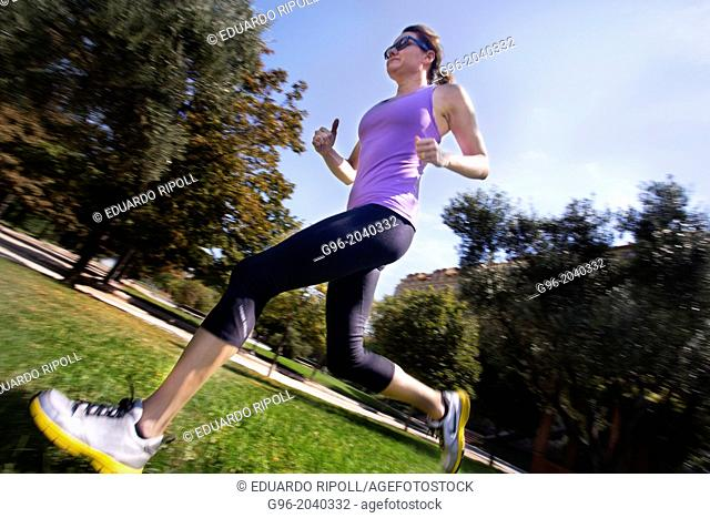 Woman doing workout outdoors
