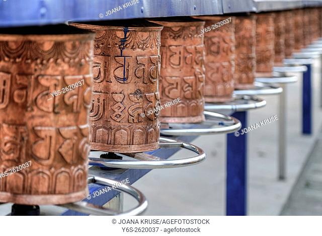 Tibetan prayer wheels in Sarnath Temple, Varanasi, Uttar Pradesh, India