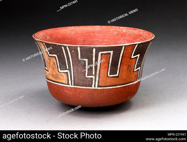 Bowl with Stepped Motifs - 180 B.C./A.D. 500 - Nazca South coast, Peru - Artist: Nazca, Origin: Nazca Valley, Date: 180 BC-500 AD, Medium: Ceramic and pigment