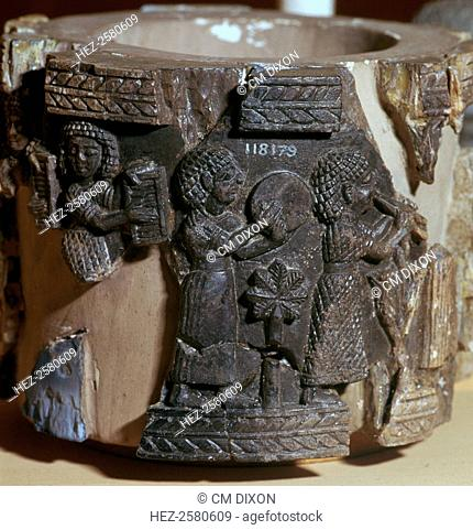 Procession of musicians on a steatite pyxis, Phoenician work and found at the 'Burnt Palace' in Nimrud, 8th century BC