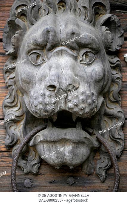 Ornamental door knocker depicting a lion's head in Grazzano Visconti Castle, Vigolzone, Emilia-Romagna, Italy, 14th century